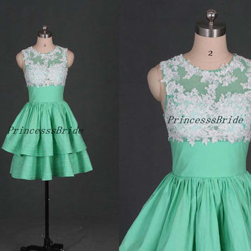 2014 short mint homecoming dress with white lace,simple taffeta bridesmaid gowns for girls,cheap cute prom dresses hot.
