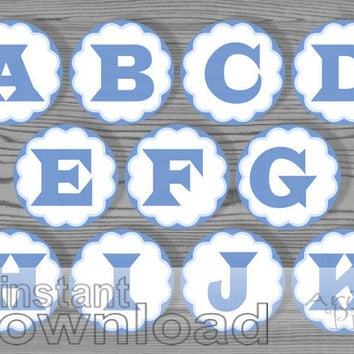 blue printable alphabet circle, party circle 2 1/2 in, number, letter, for DIY favor bag, cupcake topper, table number, instant download