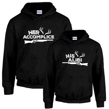 Her Accomplice and His Alibi Couples Hoodies