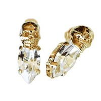 Iosselliani Gold w/ Clear Crystal Skull Earrings
