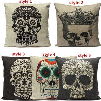 Vintage Retro Home Decor Skull Sugar Cotton Linen Throw Pillow Sofa Cover Case = 1827686084