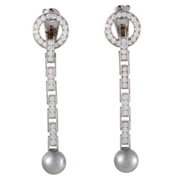 Cartier Agrafe Full Diamond Pave and Grey Pearl White Gold Long Drop Earrings
