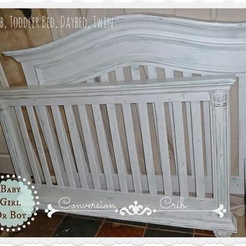 SOLD Shabby Chic Conversion Crib Boy / Girl Blue Aqua White