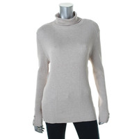 Style & Co. Womens Petites Heathered Ribbed Turtleneck Sweater