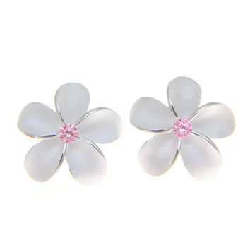 STERLING SILVER 925 HAWAIIAN PLUMERIA FLOWER STUD POST EARRINGS 15MM PINK CZ