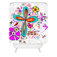 Madart Inc. Floral Dragonfly Design Shower Curtain