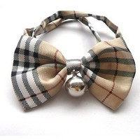Blingy's® Stylish Beige Plaid Pattern Bowknot Collar/Bow-Tie with Bell for Cats or Dogs(With Blingy's Gift Bag Packed)