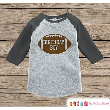 Boys Birthday Outfit - Football Birthday Boy Shirt or Onepiece - Birthday Boy Football Outfit - Grey Baseball Tee - Kids Raglan Shirt