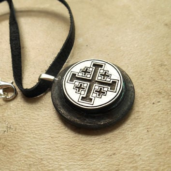 crusader cross necklace: mens necklace - jerusalem cross - leather cord - mens jewelry - boyfriend gift - unique jewelry - the artisan group