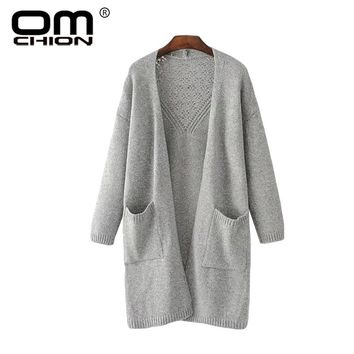 Open Stitch Long Sweater Coat For Women Casual Loose Pockets Cardigan Back Hollow Out Female Cardigans