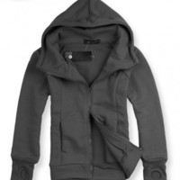 Woolen Dark Gray Full Zip Hoodie With Gloves