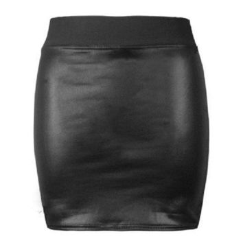 PU Leather Rock Pencil Skirt Women Elastic High Waist Body-con Slim Midi Skirts Fashion Black Sexy Club Lady Skirt