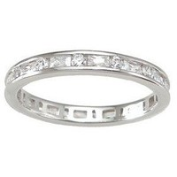 Sterling Silver Women`s Eternity Anniversary Wedding Ring Sizes 5 6 7 8 and 9