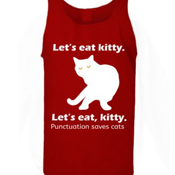 'Lets Eat Kitty Punctuation Saves Lives' Funny Slogan Men Women Unisex Tank Top Vest Gym Summer Singlet (80) Red