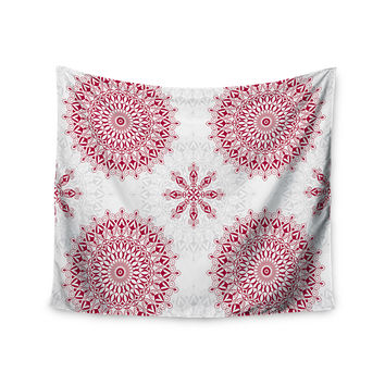 "Julia Grifol ""Geometric Mandalas"" Red White Wall Tapestry"