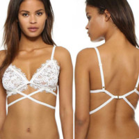 White Lace Strappy Bra Top B0015113