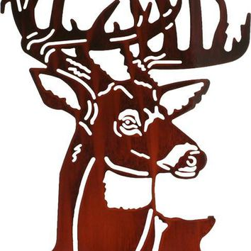 Fall Buck Head Laser Cut Metal Wall Art