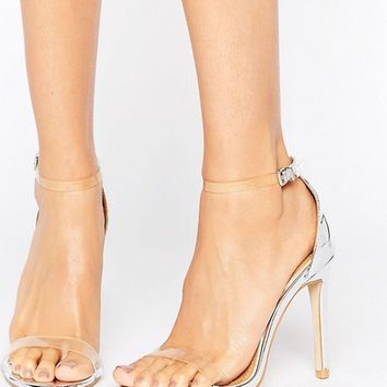Public Desire Daisy Clear Barely There Heeled Sandals at asos.com