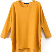 Yellow Batwing Sleeve Loose Fitting Dip Hem T-Shirt