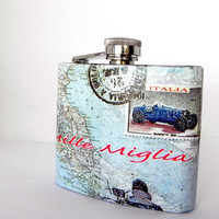 Mille Miglia Italian map Stainless steel Flask by Sybillinart