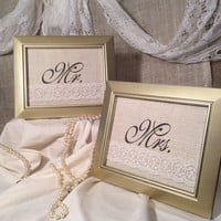 Mr. and Mrs. Wedding decor table decoration gold frames bride and groom