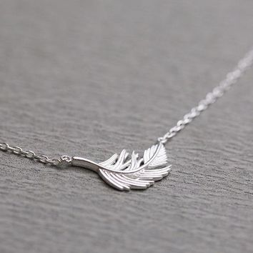 Daisies Fashion 925 Sterling Silver Classic Angel Feather/Leaf Shape Pendant Necklaces For Women Statement Jewelry