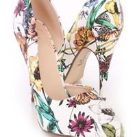 White Flower Print Single Sole D-Orsay Pump Heels Faux Leather