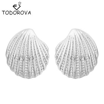 Todorova 10pcs Fashion Sea Shell Stud Earrings Beach Conch Seashell Earrings Nautical Ariel Mermaid Statement Jewelry