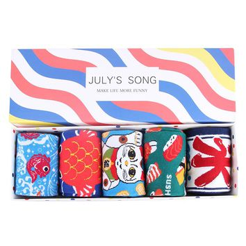 JULY'S SONG Happy Socks Women Socks Crazy Cute Art Funny Socks Sushi Donuts Brand Food Dog Pug Fox Box