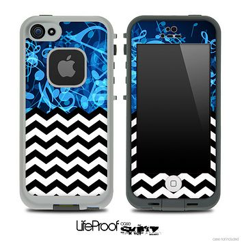 Mixed Glowing Musical Notes and Chevron Pattern Skin for the iPhone 5 or 4/4s LifeProof Case