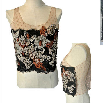 Vintage Lace Top, Black, Blouse,Dotted Swis,Sheer,Sexy,Bohemian,Boho,Victorian,Goth,Forest,Fairy,Hippie,Gypsy,Woodland,Couture,80's,Designer