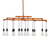 Industrial Rustic Copper Pipe Chandelier - 12 Light