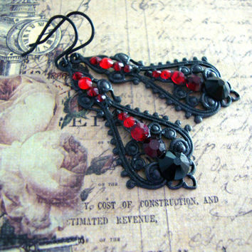 Black and Red Vampire Earrings - Swarovski Crystal Blood Red and Black Filigree Earrings - Gothic Earrings - Black Vampire Jewelry