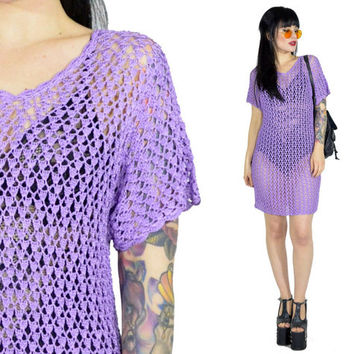 vintage 90s lilac crochet mini dress pastel grunge sheer macrame dress 1990s purple boho dress ultra draped oversized scalloped small medium