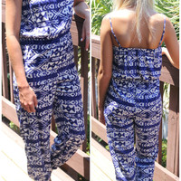 Cayucos Blue And Off White Tribal Print Jumpsuit