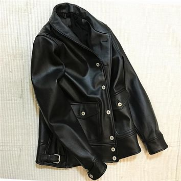New arrival men's horse skin leather jacket male vintage genuine horse leather rider jacket