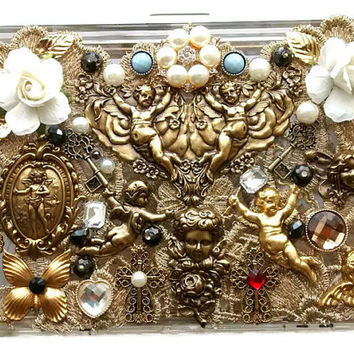 Art nouveau purse - victorian bag - italian renaissance jewelry - assemblage jewelry - pearl clutch - transparent clutch - statement clutch
