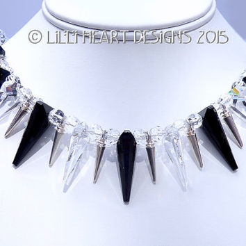 """m/w Swarovski Crystal Jet Black, Clear and Silver Spike Necklace 18"""" High Fashion Silver Plated Magnetic Clasp Lilli Heart Designs"""