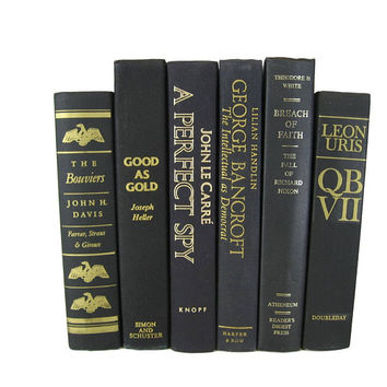 Vintage  Black Books , Black Old Books , Black Vintage Book Set , Farmhouse Decor, Literary Gifts