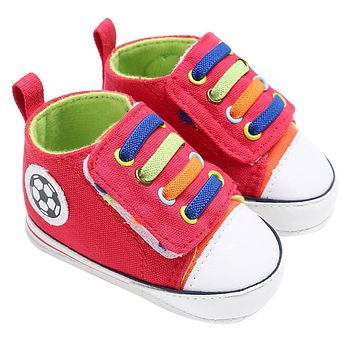 Infant Toddler Kids Canvas Sneakers Baby Boys Girls Soft Sole Crib Shoes Newborn Soccer Print Red