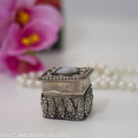 Vintage Jewelry Box: Tiny Ring Jewelry Box Trinket, Metal Square Jewelry Box Decorated with A White Cabochon, Listed by Cozy Traditions