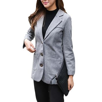 2017 Hot Sales Autumn 2 Color Ladies Solid Blazers S-XL Manga Longa Veste Bleiser Feminino Office Loose Cashmere Notched Outfits