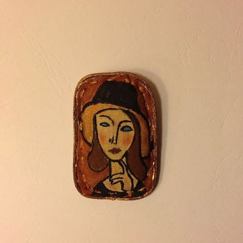 Hand painted brooch textile brooch Modigliani Fashion brooch fabric brooch art brooch stylish brooch Trending gift Woman portrait