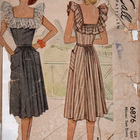 McCall 1940s Sewing Pattern 6876 Tea Dress Ruffle Square Neckline Deep Pocket Flared Skirt Fitted Bodice Bust 34