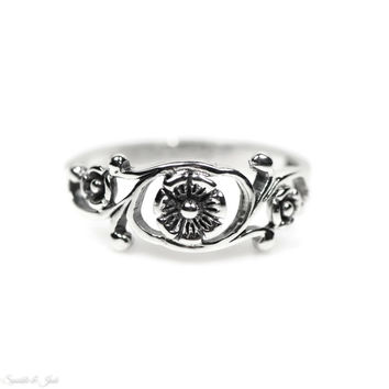 Sterling Silver Antiqued Small Floral Vine Ring