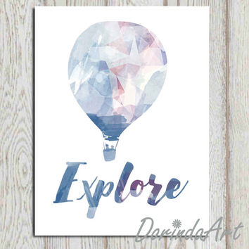 Hot air balloon Explore poster print Printable travel wall art decor Navy blue watercolor Nursery boy room Geometric office art A3, 5x7 8x10