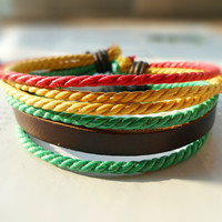 Spring Gift Popular Trend Friendship Fashion Brown Leather Multicolor Cotton rope cuff Adjustable Wrap Bracelet  M-63