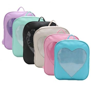 2017 New Faux Leather Fashion Women Girls Kawaii Transparent Love Heart Shape School Bag Cute Backpack Below 20L Zip Soft Bags