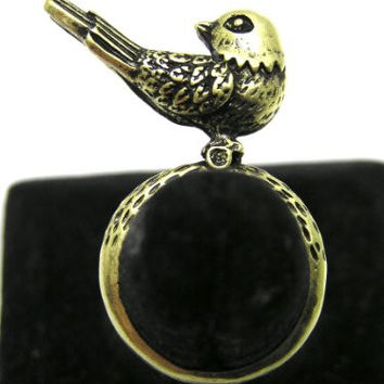 Sparrow Ring Size 6.5 Gold Tone Canary Tweet Bird RE13 Fashion Jewelry