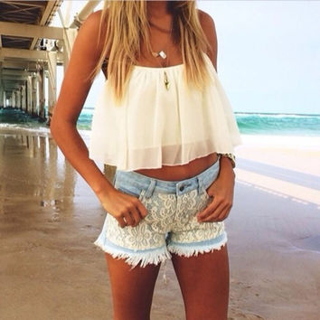 Summer White Chiffon Suspenders Blouses